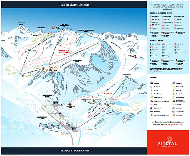Pitztal Karte.Pitztal Pitztaler Gletscher Rifflsee Pistenplan Skikarte
