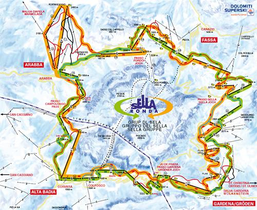 Wolkenstein Skigebiet Pistenplan Skikarte Panoramakarte Pisten