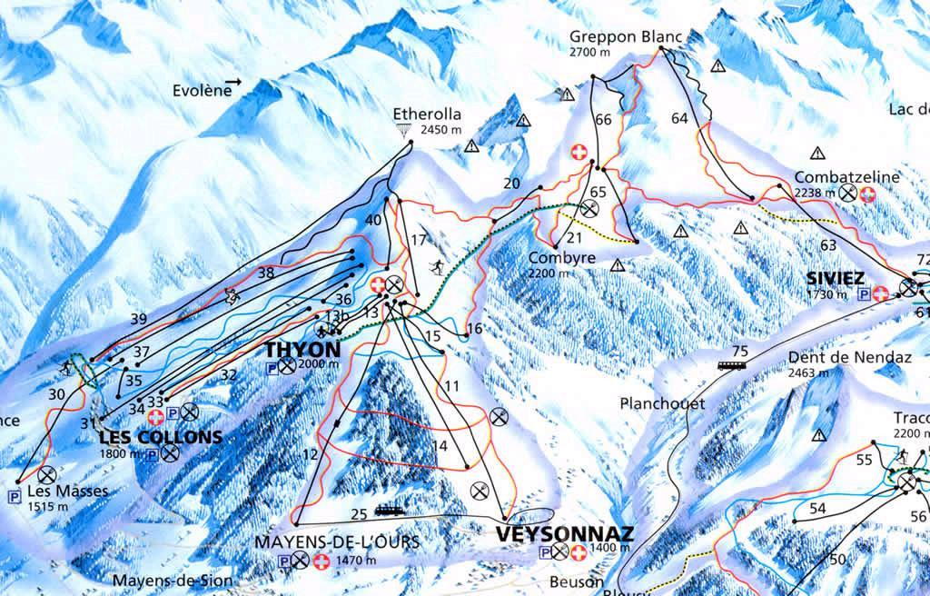 Thyon 2000 Skiing area Skigebiet 4 Valles Verbier Nendaz