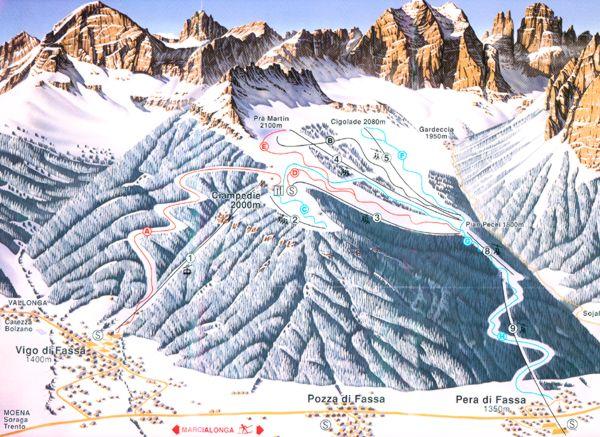 Vigo di Fassa Skiing area Skigebiet Ciampedi Anschlu an Skigebiet
